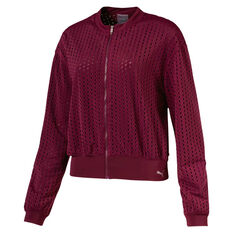 Puma Womens Luxe Zip Up Jacket Red XS, Red, rebel_hi-res