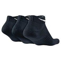 Nike Mens Cushion Low Cut 3 Pack Socks Black S, Black, rebel_hi-res