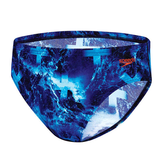 Speedo Mens Pacific Ocean Swim Briefs, Blue, rebel_hi-res