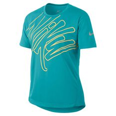 Nike Dri-FIT Girls Short Sleeve Graphic Tee Green / Yellow XS, Green / Yellow, rebel_hi-res