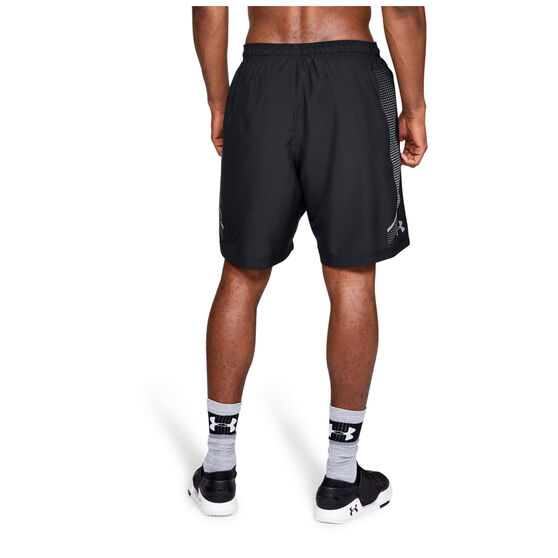 Under Armour Mens Woven Graphic Training Shorts, Black/Grey, rebel_hi-res
