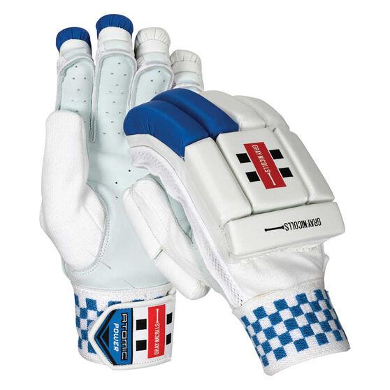 Gray Nicolls Atomic Power Cricket Batting Gloves, White / Blue, rebel_hi-res
