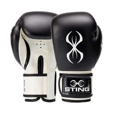 Sting Titan Leather Boxing Gloves Black / White 12oz, Black / White, rebel_hi-res