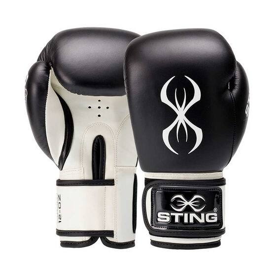 Sting Titan Leather Boxing Gloves, Black / White, rebel_hi-res