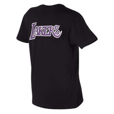 Los Angeles Lakers Mens Retro Repeat Tee Black S, Black, rebel_hi-res