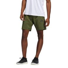 adidas Mens AEROREADY 3-Stripes Shorts Khaki S, Khaki, rebel_hi-res