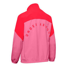 Under Armour Womens Woven Anorak Half Zip Jacket Pink / Red XS, Pink / Red, rebel_hi-res