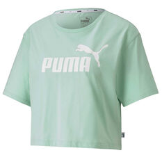 Puma Womens Essentials Cropped Tee Green XS, Green, rebel_hi-res