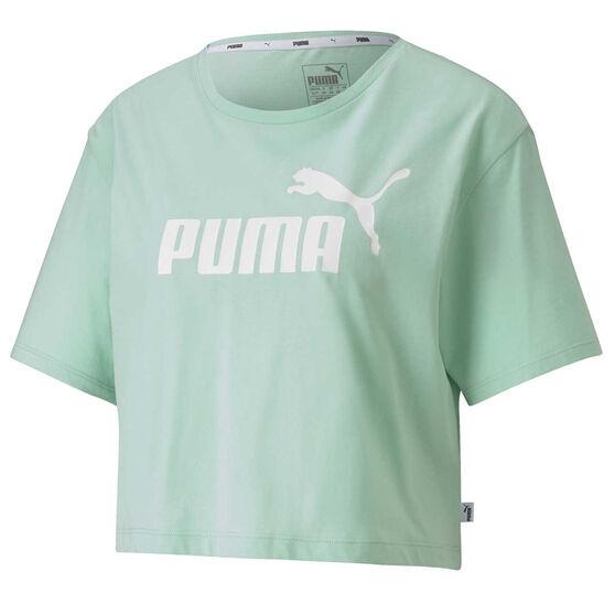 Puma Womens Essentials Cropped Tee, Green, rebel_hi-res