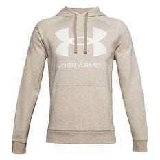 Under Armour Mens Rival Logo Fleece Hoodie Grey XS, Grey, rebel_hi-res