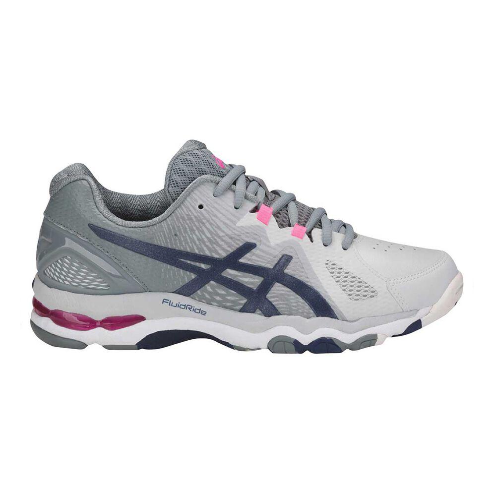 Asics Gel Netburner Super 8 Womens Netball Shoes Grey   White US 9 ... b972256184b9