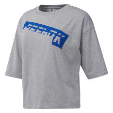 Reebok Womens Workout Ready Meet You There Tee Grey XS, Grey, rebel_hi-res