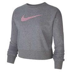 Nike Womens Dri-FIT Get Fit Training Sweatshirt Grey XS, Grey, rebel_hi-res
