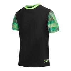Speedo Boys Leisure Prismz Rash Vest Black 6, Black, rebel_hi-res