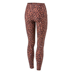 Running Bare Womens Ab Waisted Power Moves Full Length Tights Print 8, Print, rebel_hi-res
