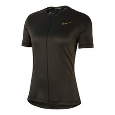 Nike Womens Dri-FIT Miler Running Tee Black XS, Black, rebel_hi-res