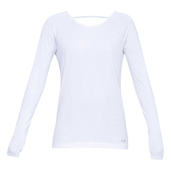 Under Armour Womens Vanish Seamless Spacedye Top, White, rebel_hi-res