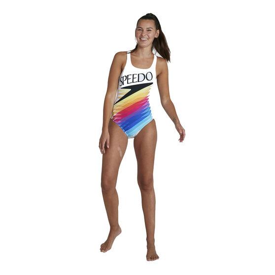 Speedo Womens Retro Digital Placement Medalist One Piece Swimsuit, White/Multi, rebel_hi-res