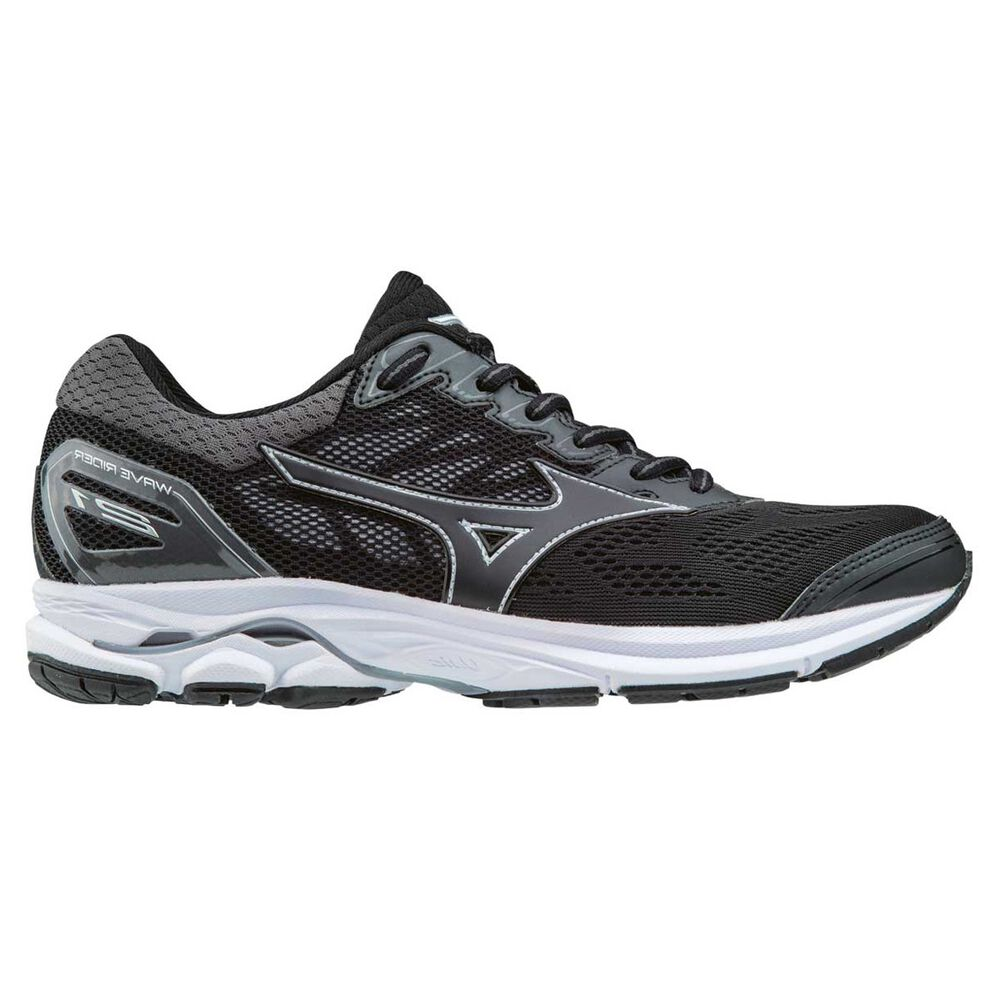 7a8cc34faad4 Mizuno Wave Rider 21 Womens Running Shoes Black / Silver US 9.5, Black /  Silver