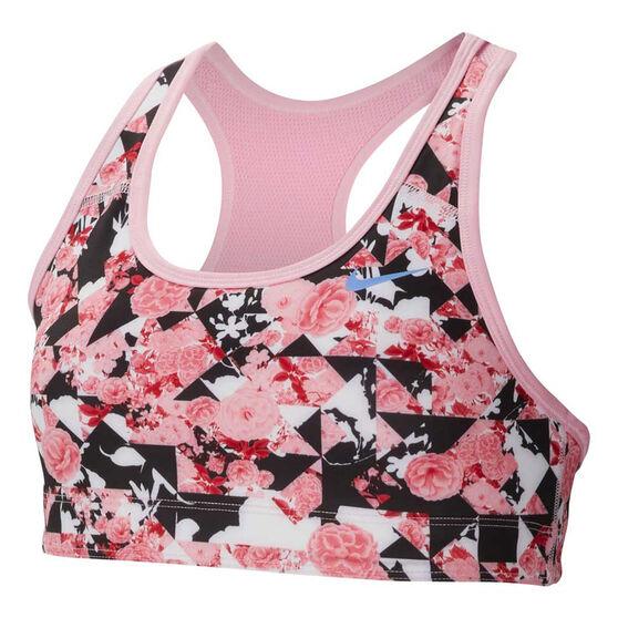 Nike Girls Pro Classic Reversible Print Sports Bra, Pink, rebel_hi-res