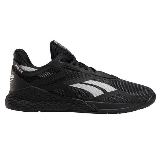 Reebok Nano X Mens Training Shoes, Black/Silver, rebel_hi-res