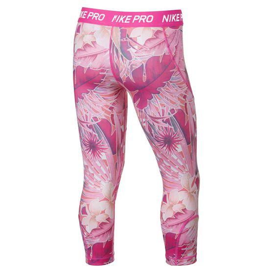 Nike Girls Printed Capris, Fuschia, rebel_hi-res