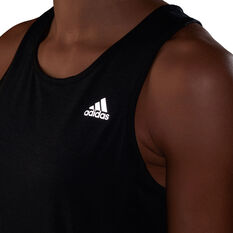 adidas Womens Own The Run Cooler Tank, Black, rebel_hi-res