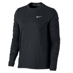 Nike Womens Running Crew Top Black XS, Black, rebel_hi-res