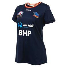 Adelaide Crows AFLW 2019 Womens Warm Up Tee Blue / Orange XXS, Blue / Orange, rebel_hi-res
