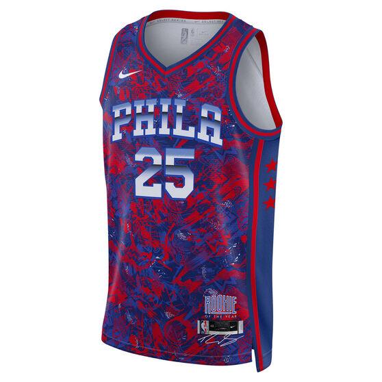Nike Philadelphia 76ers Ben Simmons 2021 Mens ROY Select Jersey, Blue, rebel_hi-res