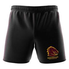 Brisbane Broncos Mens Club Fleece Shorts Black S, Black, rebel_hi-res