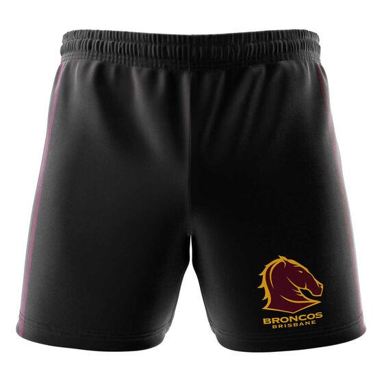 Brisbane Broncos Mens Club Fleece Shorts, Black, rebel_hi-res