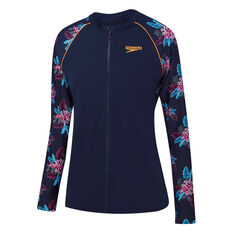 Speedo Girls Eco Zip Up Longsleeve Rash Top Print 12, Print, rebel_hi-res
