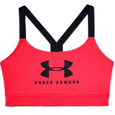 Under Armour Womens Mid Sportstyle Graphic Sports Bra Red XS, Red, rebel_hi-res