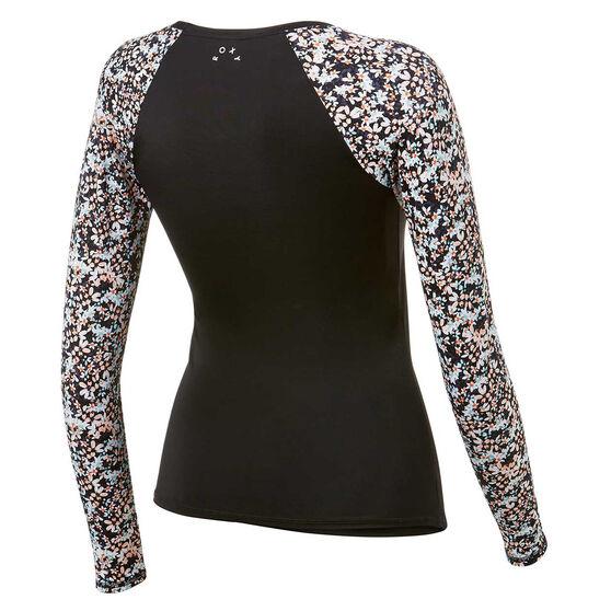 Roxy Womens Fitness Long Sleeve Rash Vest, Black, rebel_hi-res