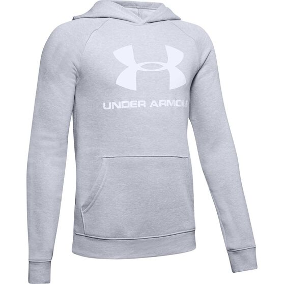 461176d1 Under Armour Boys Rival Logo Hoodie Grey / White M