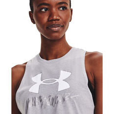 Under Armour Womens Graphic Muscle Tank, Grey, rebel_hi-res