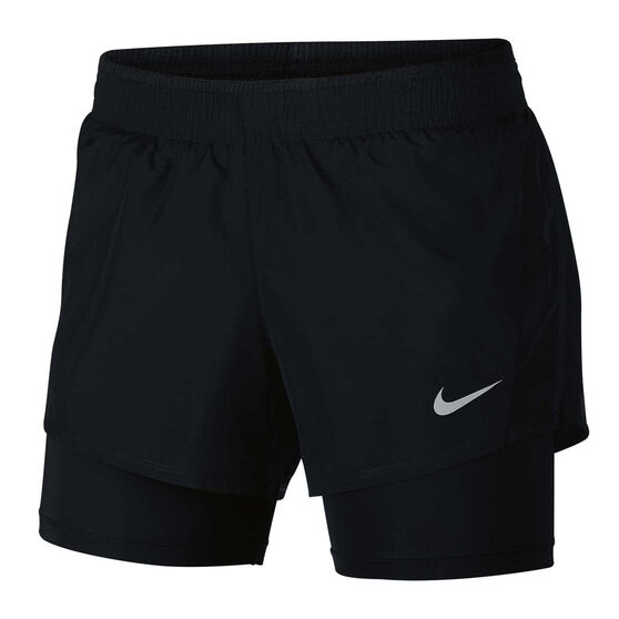Nike Womens 10k 2 in 1 Running Shorts, Black / Grey, rebel_hi-res