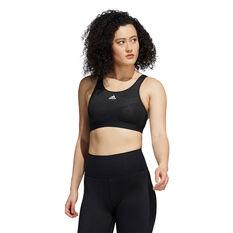 adidas Womens Believe This Medium Support Lace Camo Sports Bra, Black, rebel_hi-res