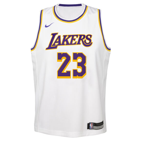 9318e76ff64 Nike Los Angeles Lakers LeBron James Association 2019 Kids Swingman Jersey  White   Blue L
