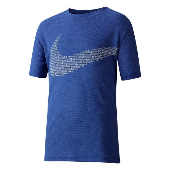 Nike Boys Statement Short Sleeve Perormance Training Tee, Blue, rebel_hi-res