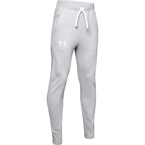 Under Armour Boys Rival Solid Pants, Grey / White, rebel_hi-res