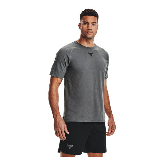 Under Armour Mens Project Rock Charged Cotton Tee, Grey, rebel_hi-res
