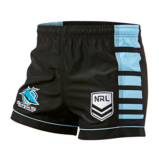 Cronulla-Sutherland Sharks Mens Home Supporter Shorts, Black / Blue, rebel_hi-res