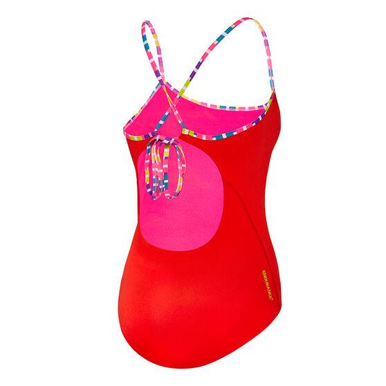 Speedo Womens Fiesta Tie-Back One-Piece Swimsuit, Red, rebel_hi-res