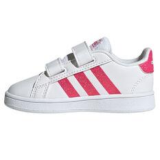 adidas Grand Court Toddlers Shoes White/Pink US 4, White/Pink, rebel_hi-res