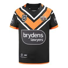 Wests Tigers 2020 Kids Home Jersey Black / Orange 8, Black / Orange, rebel_hi-res