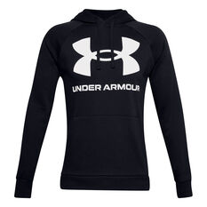 Under Armour Mens Volume Fleece Rival Big Logo Hoodie, Black, rebel_hi-res