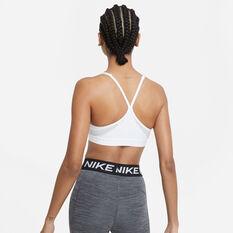 Nike Womens Dri-FIT Indy V Neck Sports Bra White XS, White, rebel_hi-res
