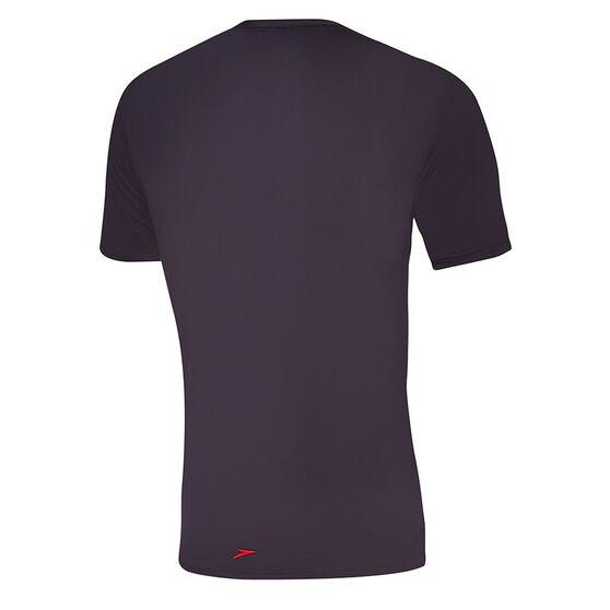 Speedo Mens Ocean Tee Short Sleeve Rash Vest, Black, rebel_hi-res
